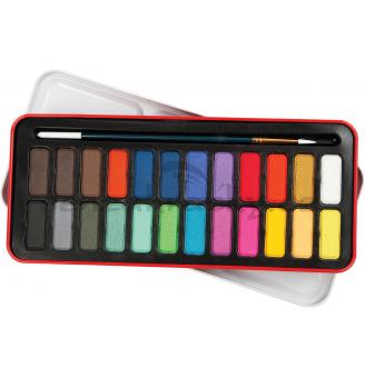 Akvarelové barvy se štětcem vkazetě, 24 ks