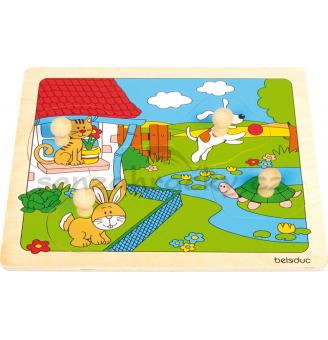 Beleduc vkládací puzzle s úchytkou Domácí zvířatka