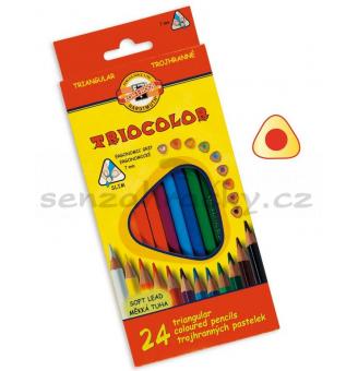 Trojhranné pastelky - 24 ks