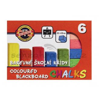 Křídy barevné, čtvercové - 6 barev